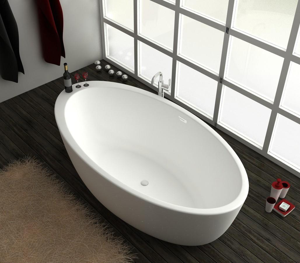 freistehende badewanne aus mineralguss kzoao 1487 badewelt. Black Bedroom Furniture Sets. Home Design Ideas