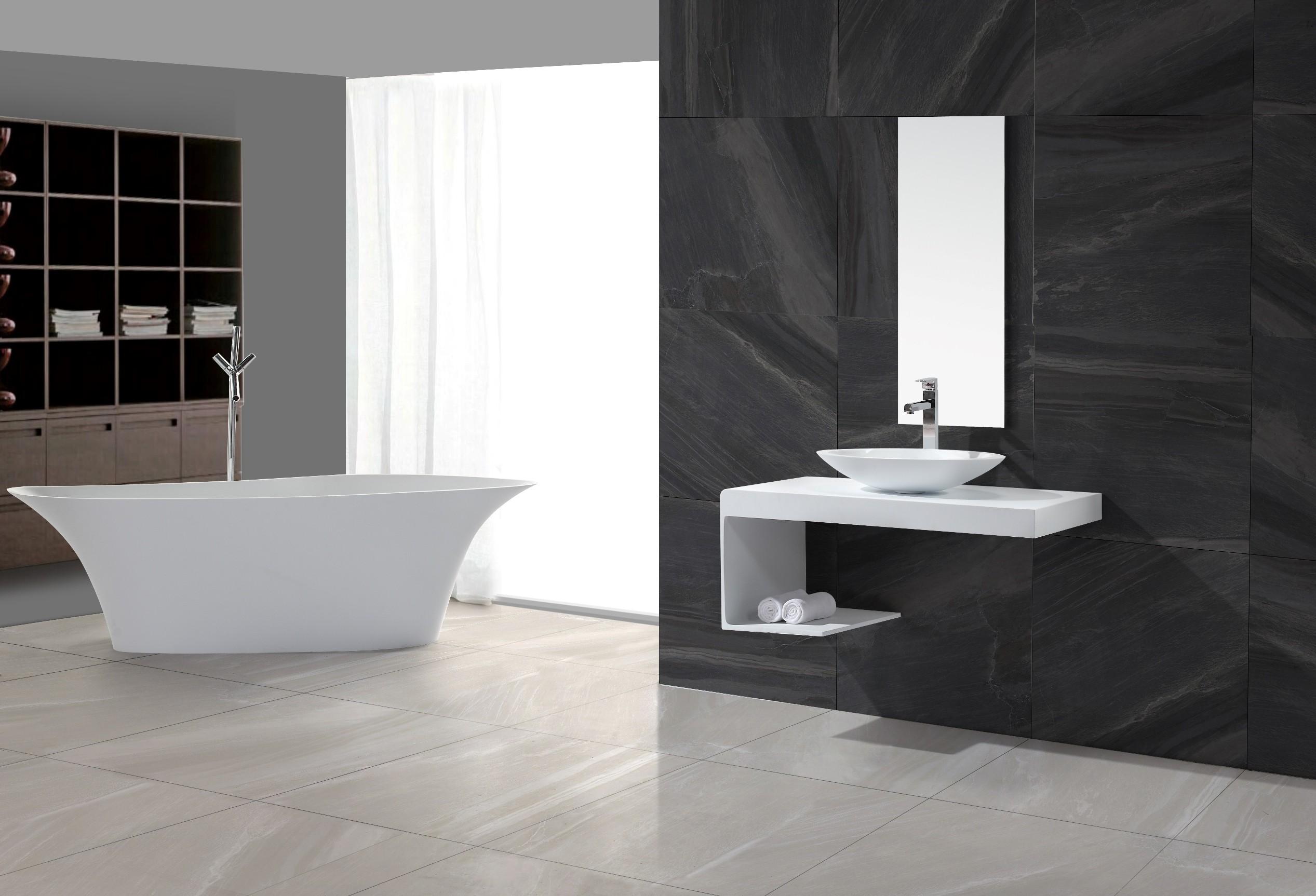 design waschtisch waschtischkonsole aus kunsstein in matt oder gl nzend l r. Black Bedroom Furniture Sets. Home Design Ideas