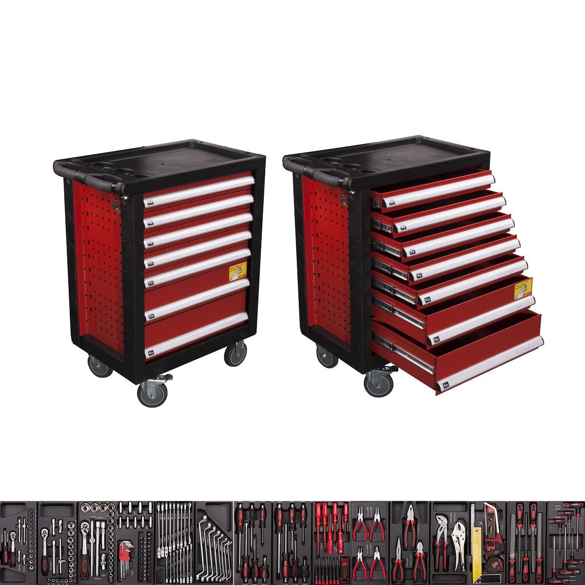 werkzeugwagen mit 7 schubladen inkl werkzeug werkstattwagen komplett 185 tlg ebay. Black Bedroom Furniture Sets. Home Design Ideas