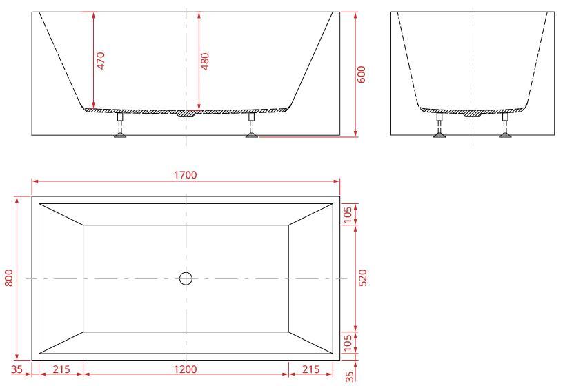exclusive freistehende acryl badewanne mit ab und berlauf art nr 28000 ebay. Black Bedroom Furniture Sets. Home Design Ideas