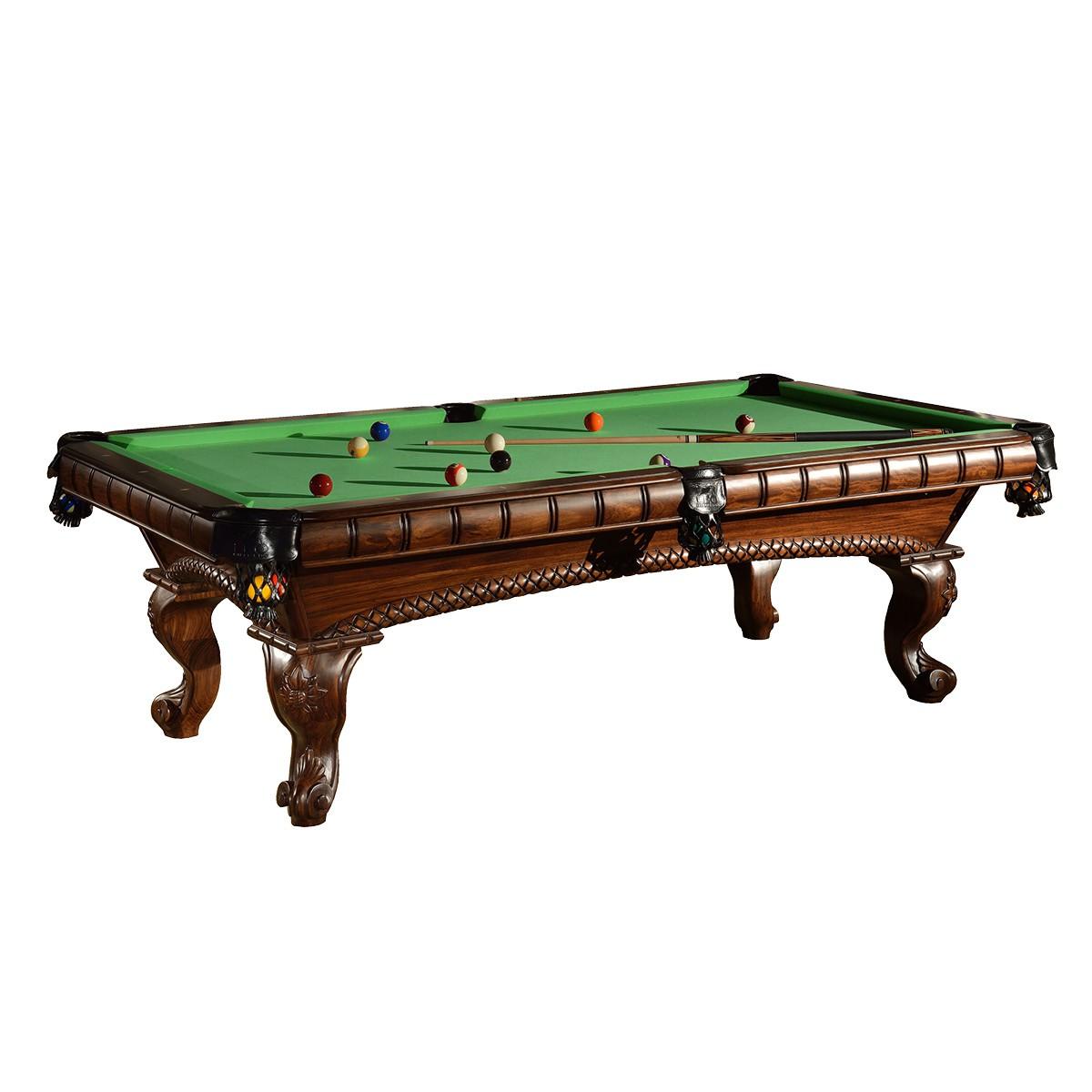 Klassischer Billardtisch mit schönen Verzierungen und Billard Kugeln