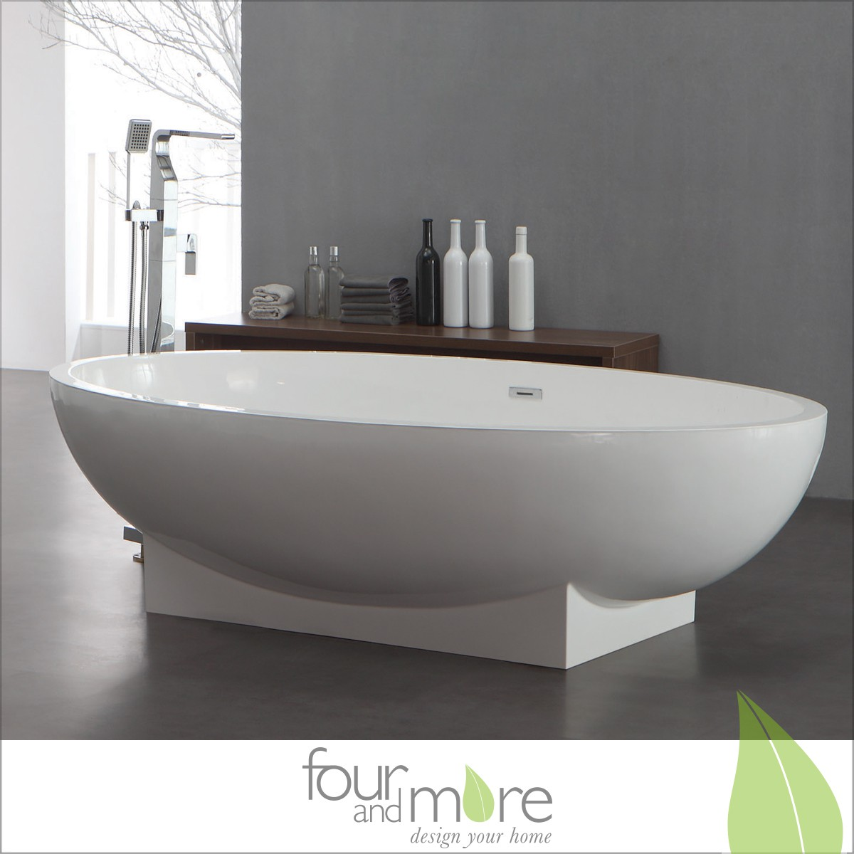 freistehende design badewanne aus mineralguss composite stone 190 x 120 cm. Black Bedroom Furniture Sets. Home Design Ideas