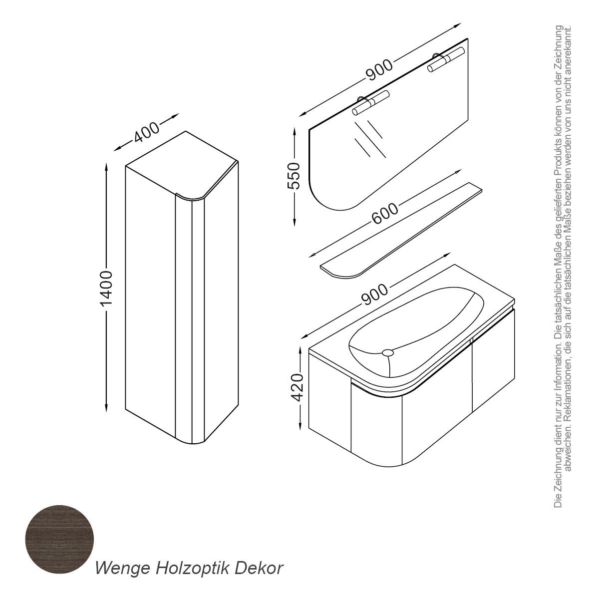 monaco set 90 cm braun badewelt badezimmer möbel serien sets, Badezimmer ideen
