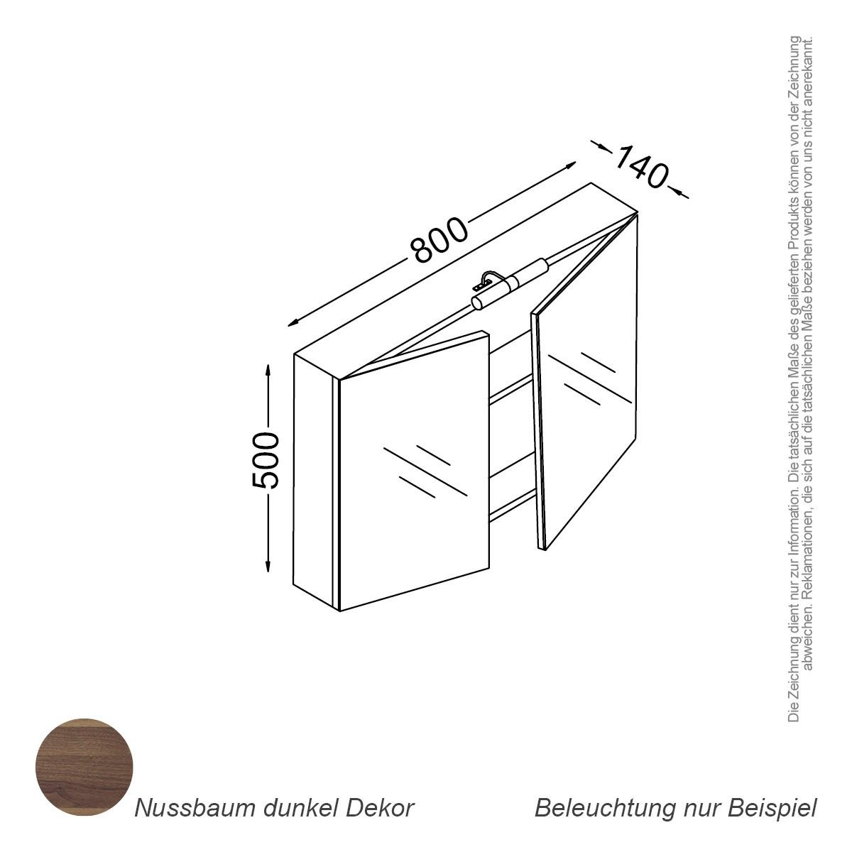 Extremely Spiegelschrank 80 cm nussbaum Badewelt Badezimmer Möbel NT58
