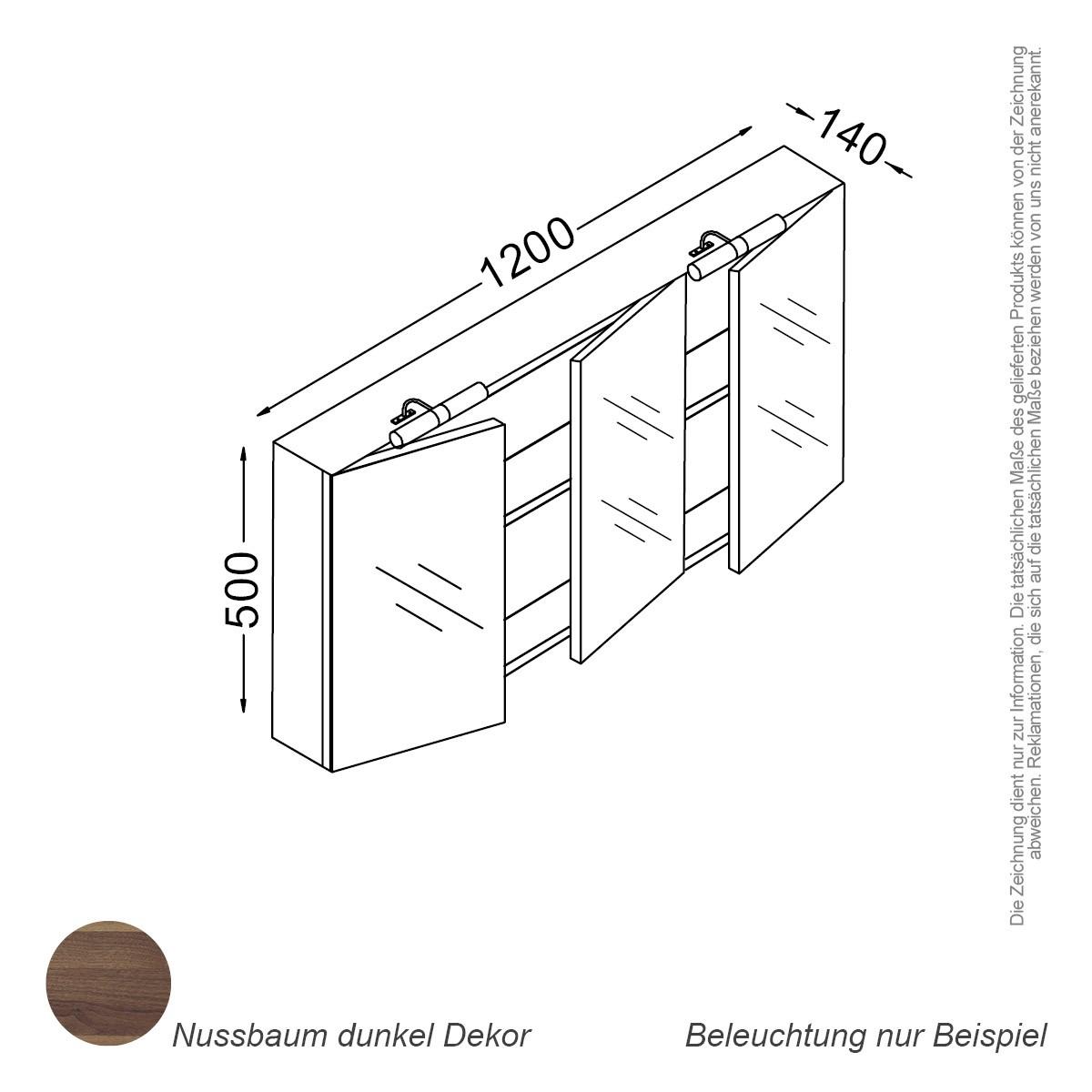 Spiegelschrank 120 cm nussbaum Badewelt Badezimmer Möbel