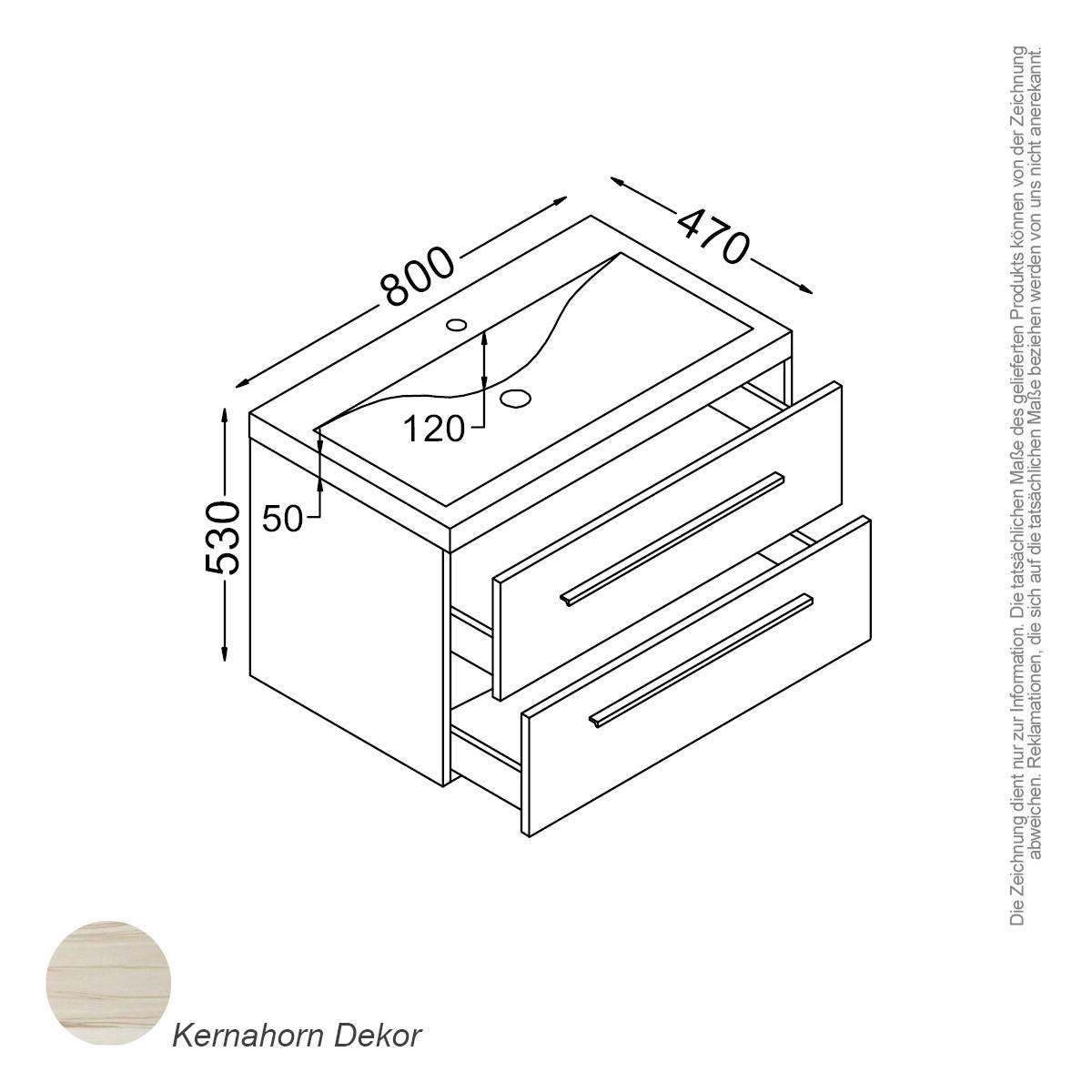 Rom Waschtisch Set 80 Cm Kernahorn