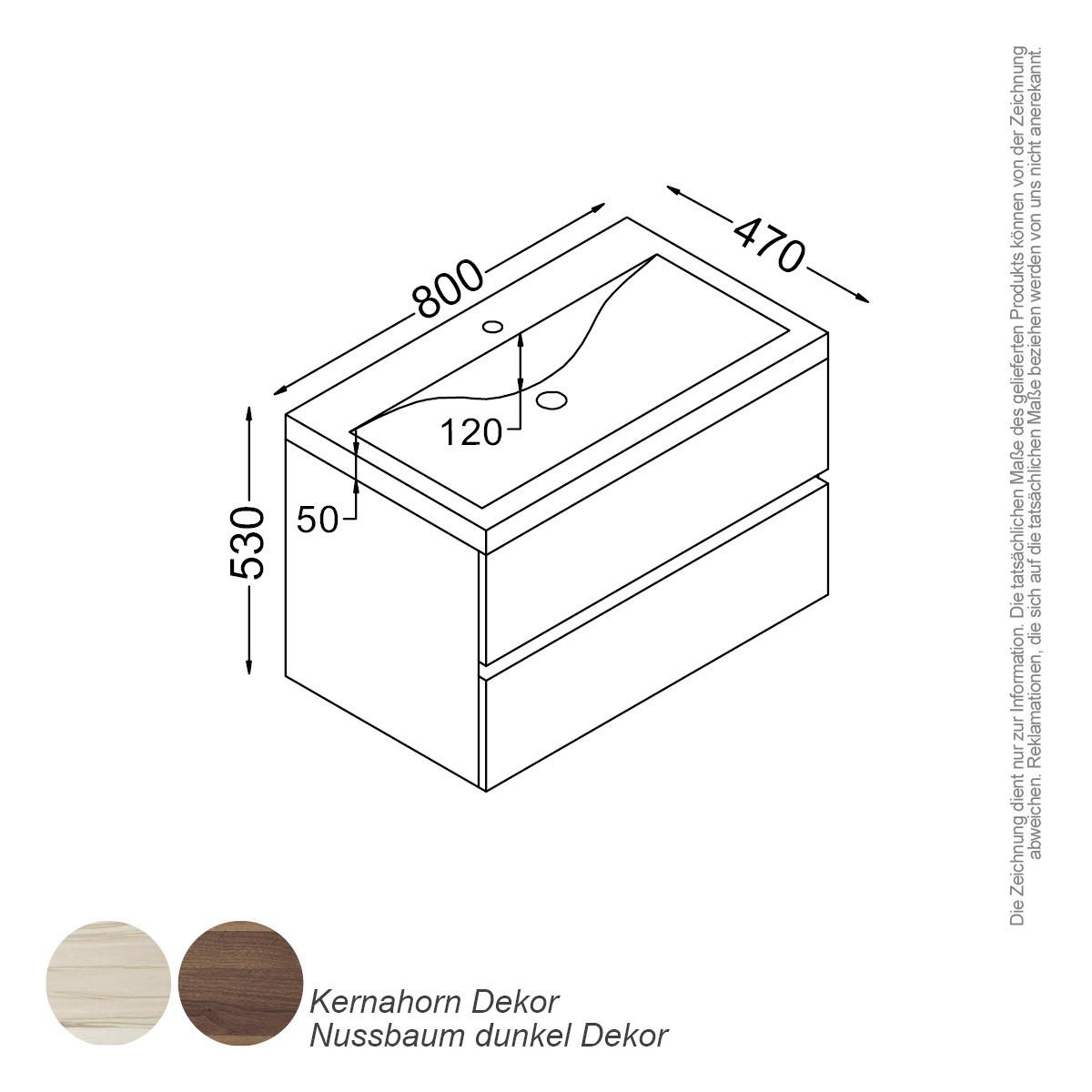 paris waschtisch-set 80 cm kernahorn badewelt badezimmer möbel, Badezimmer ideen
