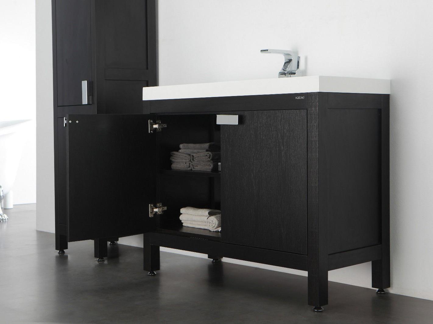 barcelona waschtisch set 60 cm eiche schwarz badewelt badezimmer m bel. Black Bedroom Furniture Sets. Home Design Ideas