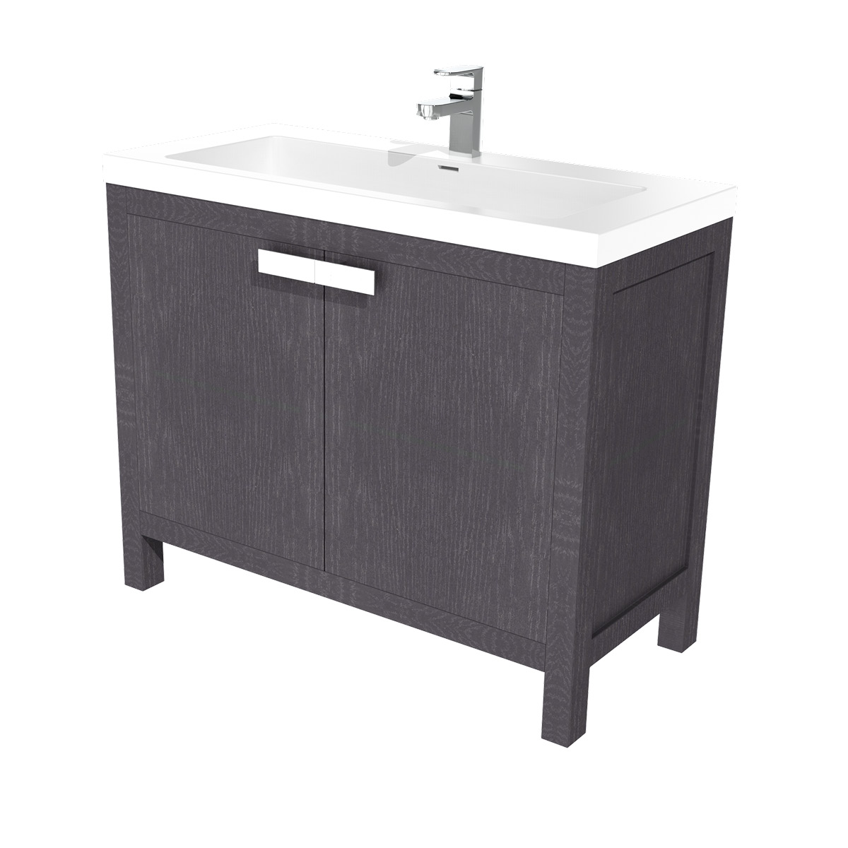barcelona waschtisch set 100 cm eiche schwarz badewelt badezimmer m bel. Black Bedroom Furniture Sets. Home Design Ideas