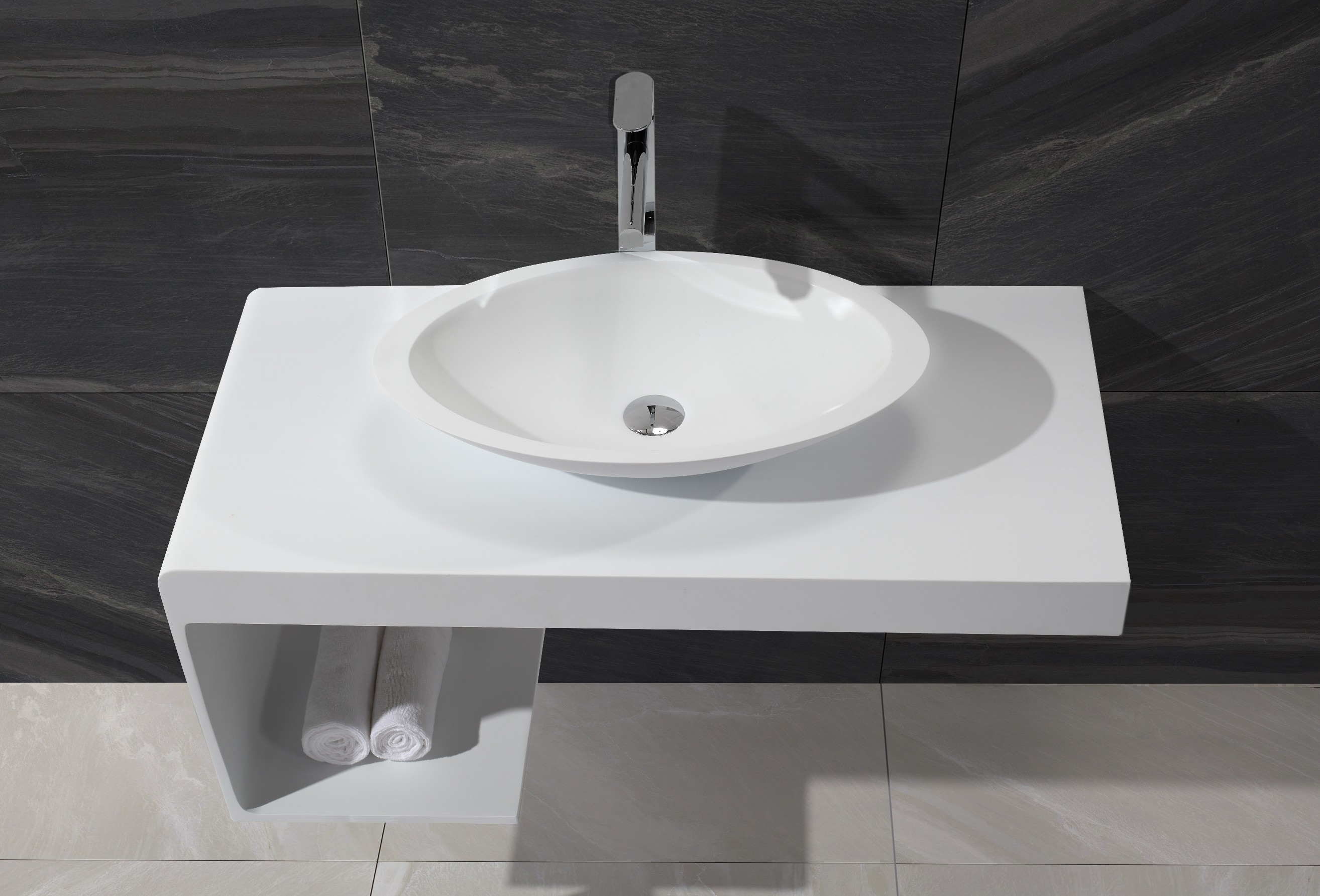 Design waschtischplatte 1396 badewelt badezimmer m bel for Design waschtisch