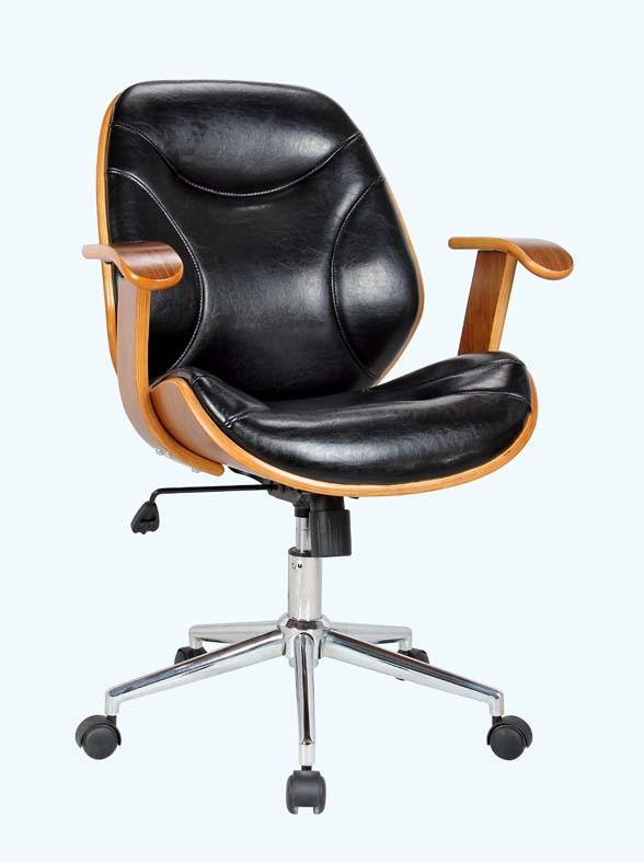 Bürostuhl ergonomisch holz  Bürostuhl FM-2235-5 PU-Schwarz/ Walnuss Haus und Garten Bürostuhl