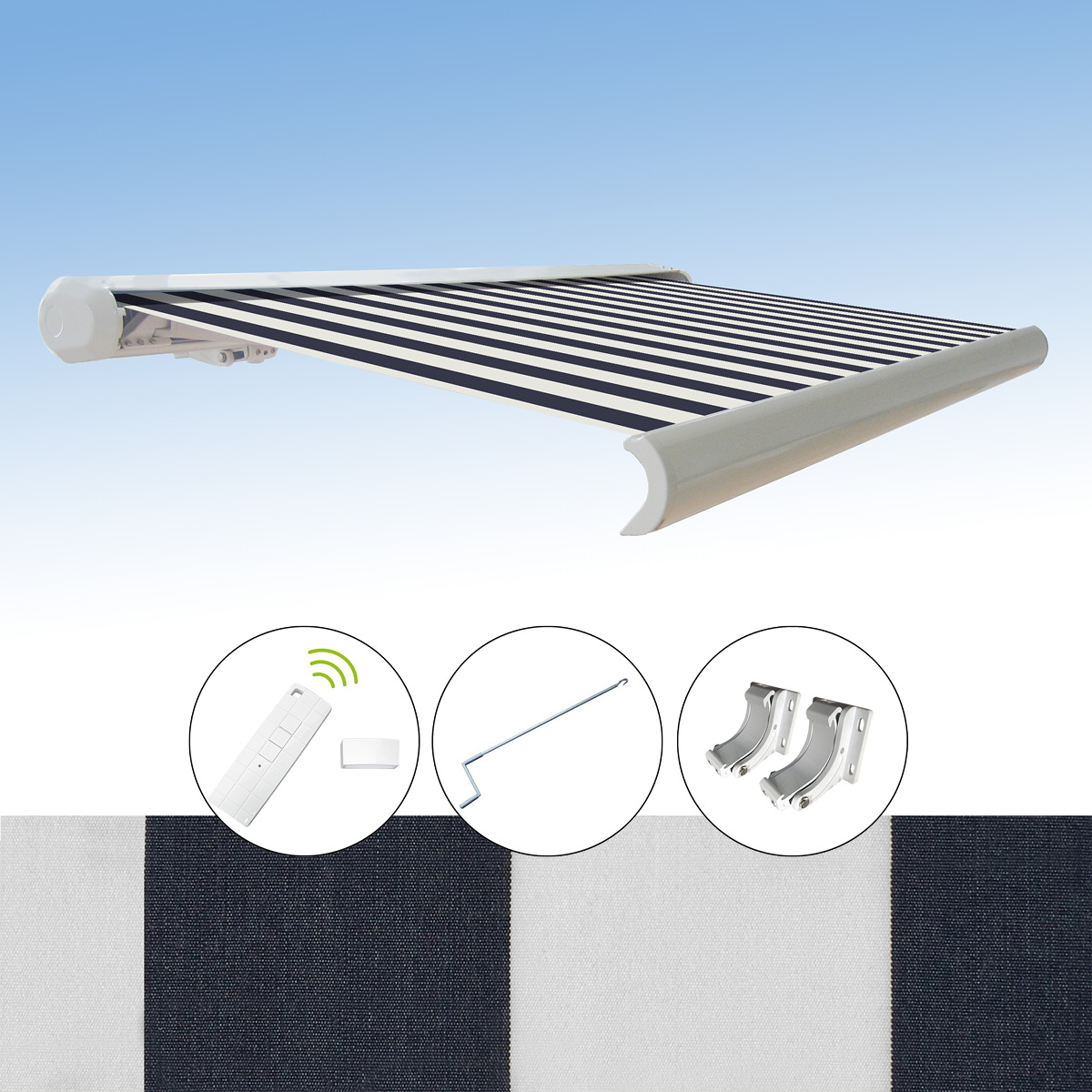 kassettenmarkise elektrische markise farbwahl m glich 3x2 5m funk motor pa acryl ebay. Black Bedroom Furniture Sets. Home Design Ideas