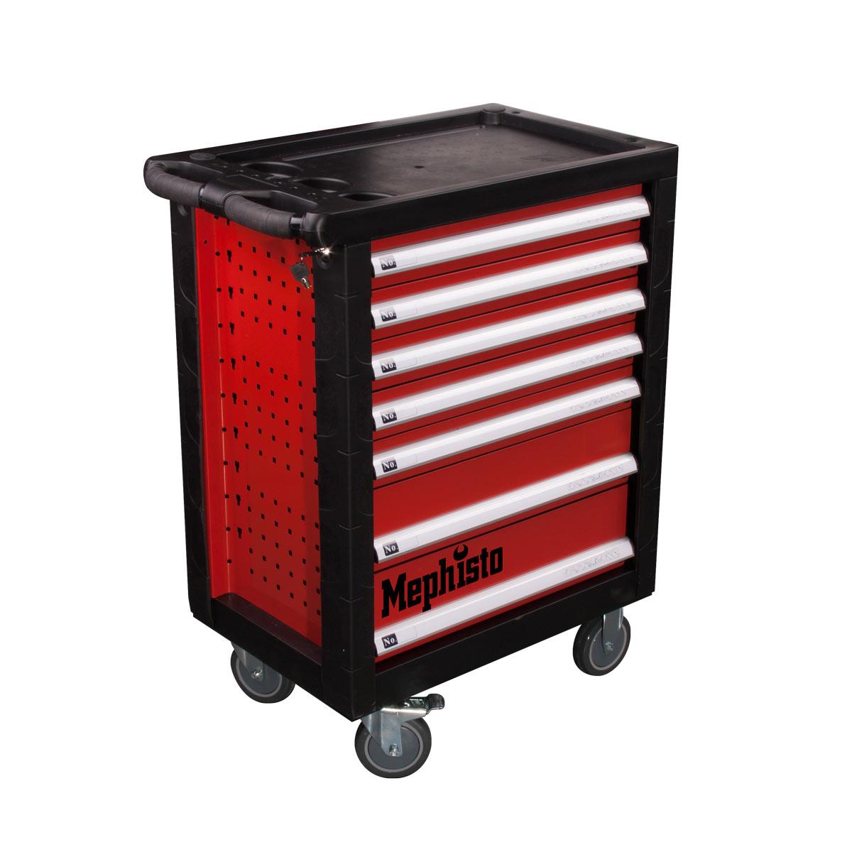 werkzeugwagen mit 7 schubladen 4 mit werkzeug gef llt haus und garten mephisto werkzeug. Black Bedroom Furniture Sets. Home Design Ideas